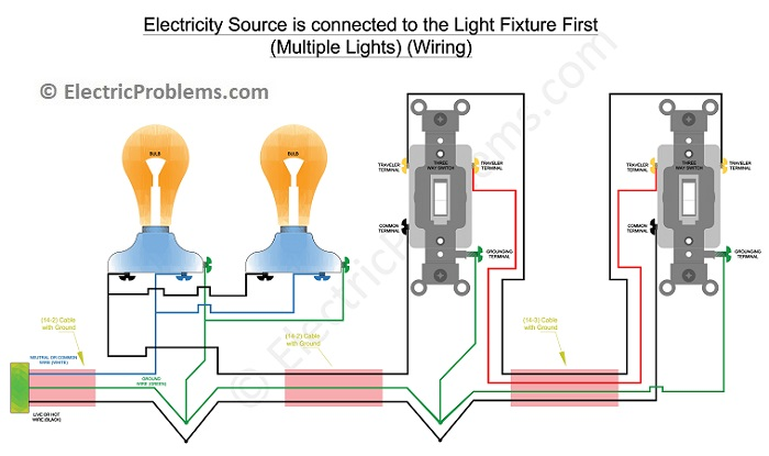How To Wire A 3 Way Switch With Multiple Lights Electric Problems